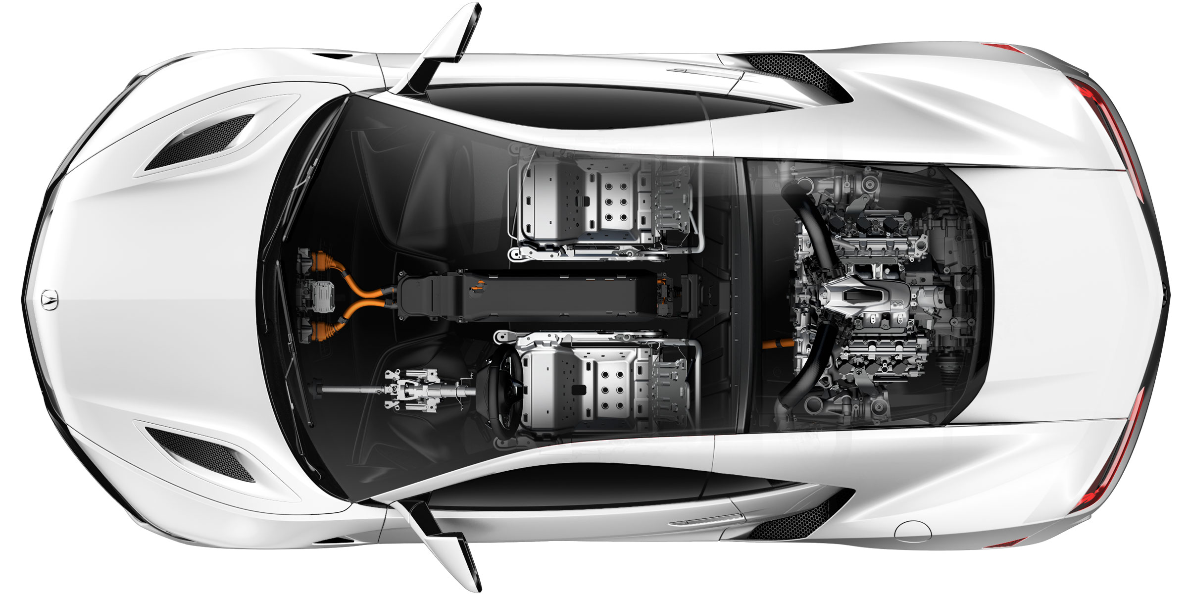 Performance Car Of The Year Acura NSX X Ray View Revealing Internal Systems.