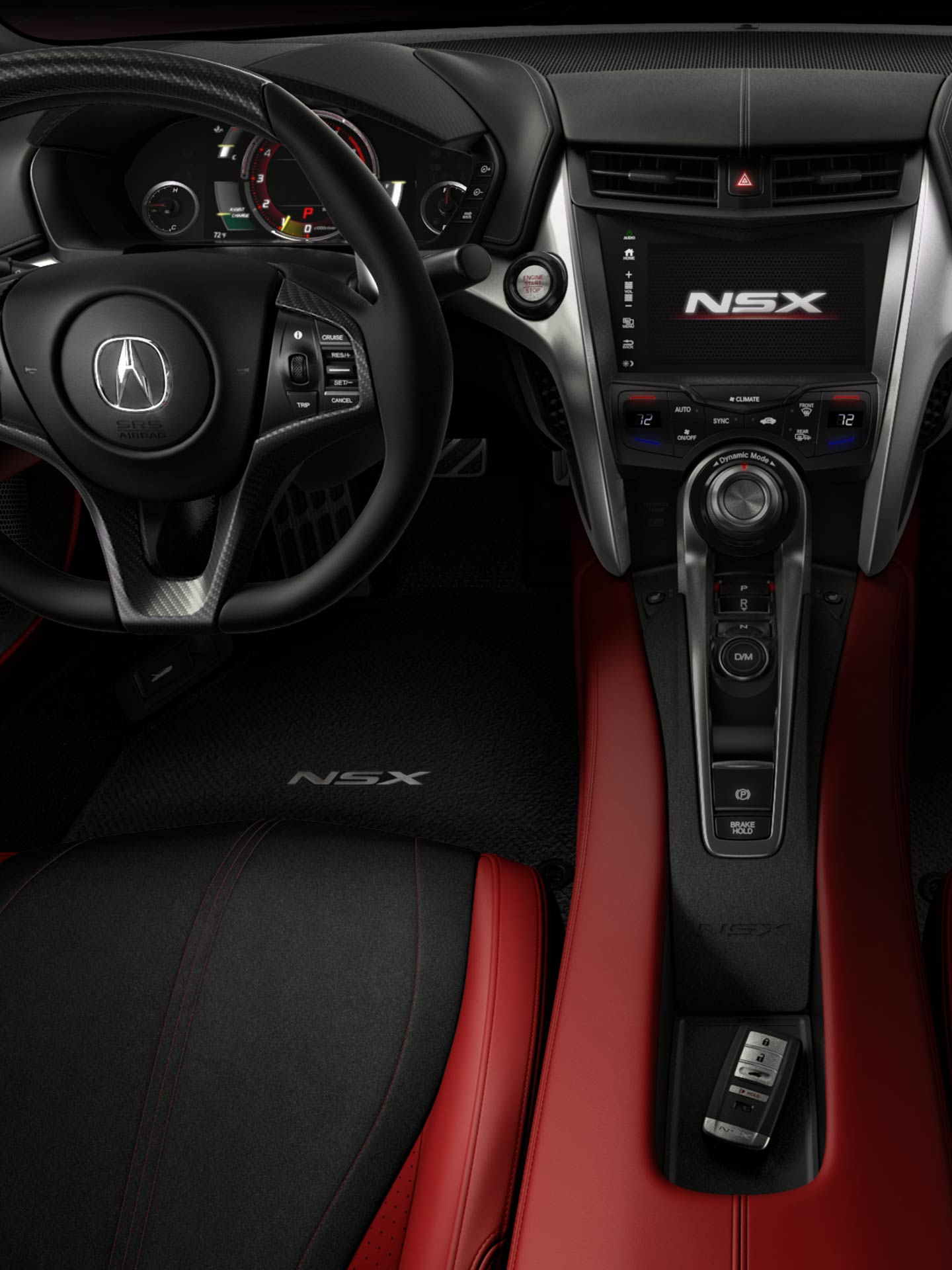 Next Gen Nsx Supercar New Details Acuracom Toyota Wiring Diagrams Homelink Center View Of Entire Dash In With Red Interior Carbon Fiber Steering Wheel